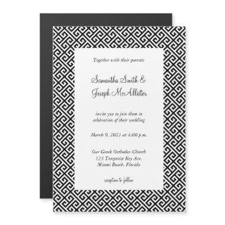 Black and White Diagonal Greek Key Wedding Magnetic Invitations
