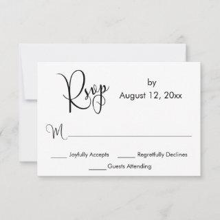 Black and White Elaborate Calligraphy Simple RSVP