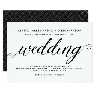 Black and White Elegant Script Wedding Invitations