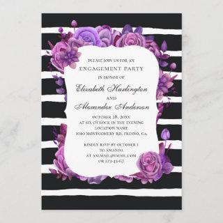 Black and white engagement party. Purple flowers Invitations