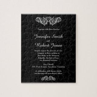 Black and White Floral Filigree Wedding Invitation Jigsaw Puzzle