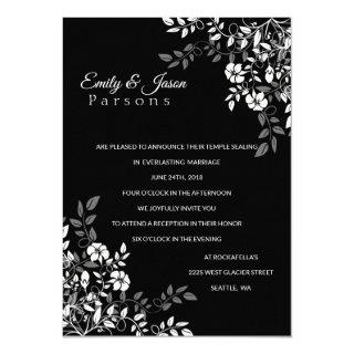 Black and White Floral Reception Invitations