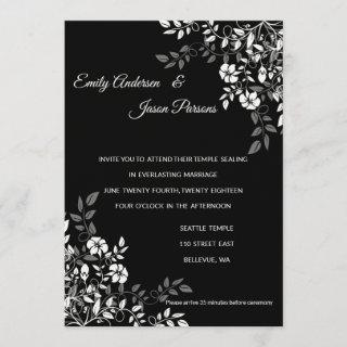 Black and White Floral Temple Wedding Invitation