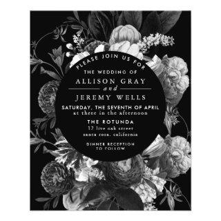 Black and White Floral Wedding Invitations Flyer