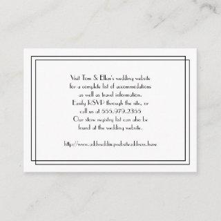 Black and White Floral Wedding Website Enclosure