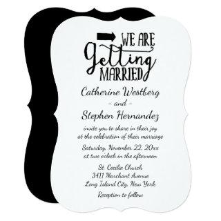 "Black And White ""Getting Married"" Wedding Invitations"
