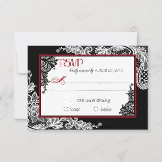 Black and White Lace Elegant RSVP Card