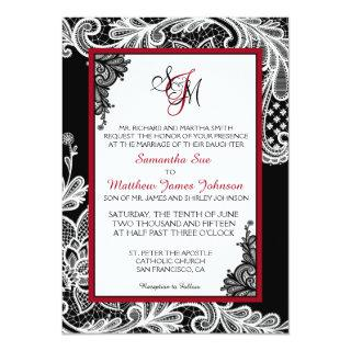 Black and White Lace Wedding Invitations Card