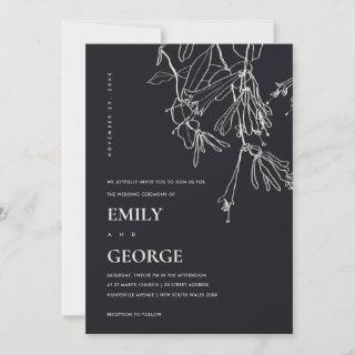 BLACK AND WHITE LINE DRAWING FLORAL WEDDING INVITE