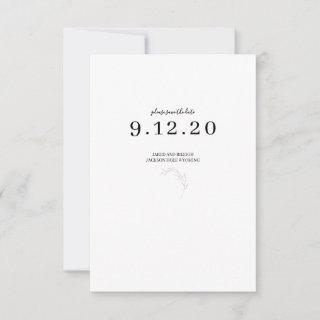 Black and White Minimal Wedding Save the Date