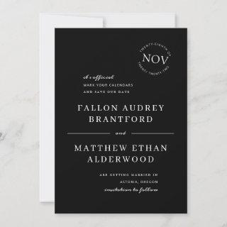 Black and White Modern Date Seal Save the Date