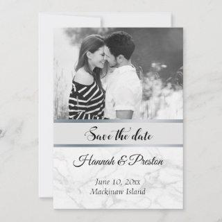 Black and White Photo Marble Save the Date