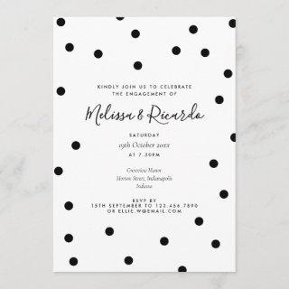 Black and White Polka Dots Modern Engagement Party Invitations