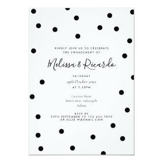 Black and White Polka Dots Modern Engagement Party Invitation