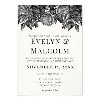 Black and White Roses Antique Engraving Wedding Invitations