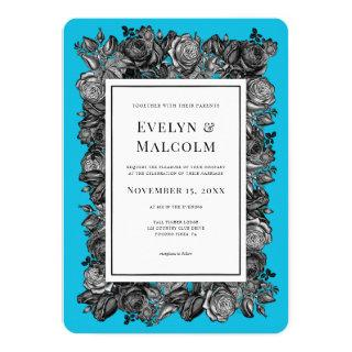 Black and White Roses Electric Blue Wedding Invitation