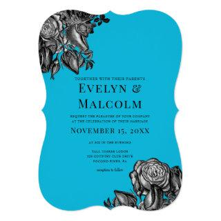 Black and White Roses Electric Blue Wedding Invitations
