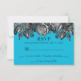 Black and White Roses Electric Blue Wedding RSVP Card