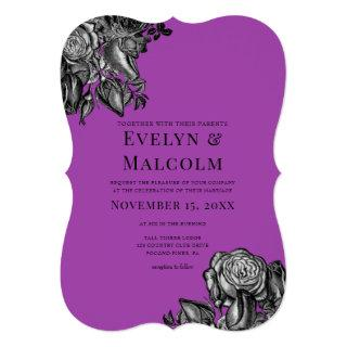 Black and White Roses Electric Purple Wedding Invitations