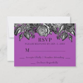 Black and White Roses Electric Purple Wedding RSVP Card