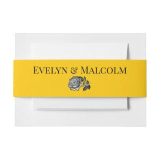 Black and White Roses Goldenrod Wedding Invitations Belly Band