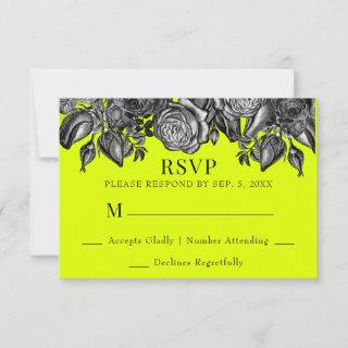 Black and White Roses Lime Green Wedding RSVP Card