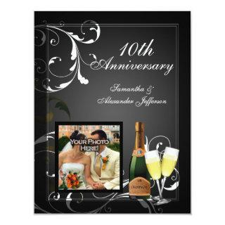 Black and White Silver Champagne Photo Anniversary Invitation