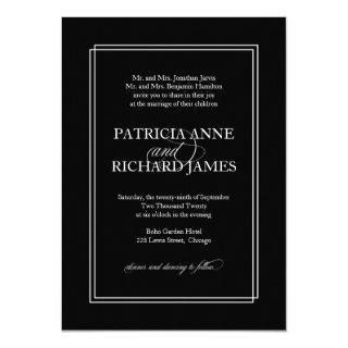 Black And White Simple Elegant Formal Wedding Invitations
