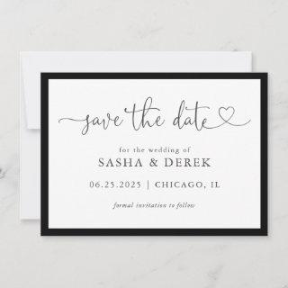 Black and White Simple Modern Save the Date