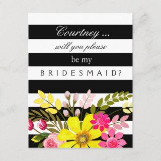 Black and White Striped Flowers Bridesmaid Request