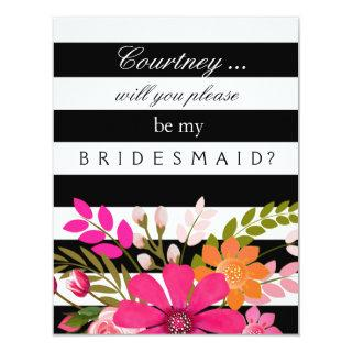 Black and White Striped Flowers Bridesmaid Request Invitation