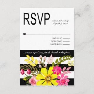 Black and White Striped Flowers RSVP yellow