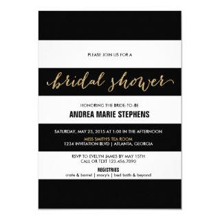 Black and White Stripes Gold Glitter Bridal Shower Invitation