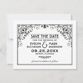 Black and White Vintage Art Deco Wedding Save The Date