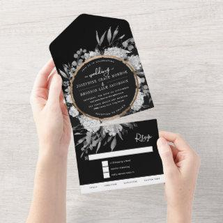 Black and White Watercolor Floral Wedding All In One
