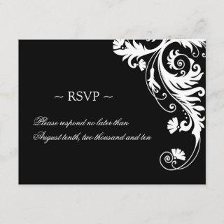 Black and White Wedding Reply Cards