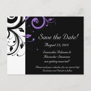Black and White with Purple Swirl Accent Announcement Postcard