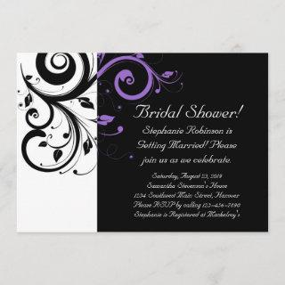 Black and White with Purple Swirl Accent