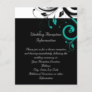 Black and White with Teal Reverse Swirl