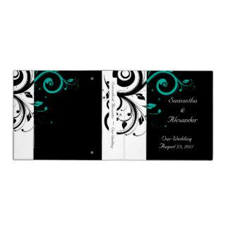 Black and White with Teal Reverse Swirl 3 Ring Binder