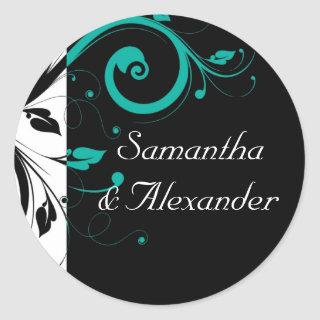 Black and White with Teal Reverse Swirl Classic Round Sticker