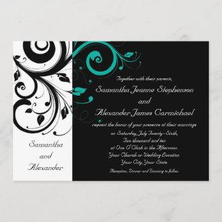 Black and White with Teal Reverse Swirl Invitation
