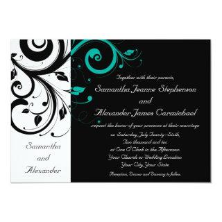 Black and White with Teal Reverse Swirl Invitations