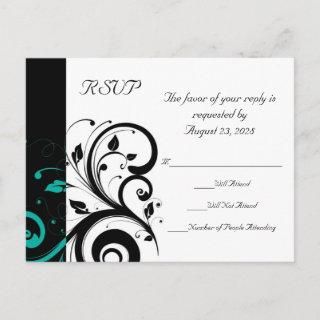 Black and White with Teal Reverse Swirl RSVP Invitation Postcard