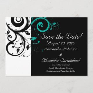 Black and White with Teal Reverse Swirl Save The Date