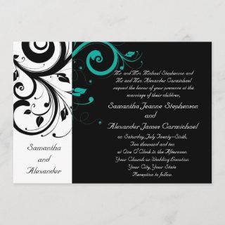 Black Aqua Swirl Wedding Traditional Invitation