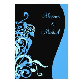Black Blue Swirl Wedding Invitations