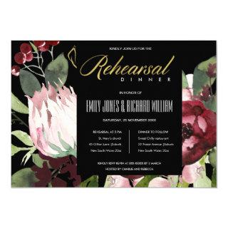 BLACK BLUSH BURGUNDY PROTEA FLORA REHEARSAL DINNER Invitations
