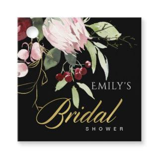 BLACK BLUSH BURGUNDY PROTEA FLORAL BRIDAL SHOWER FAVOR TAGS