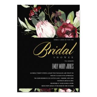 BLACK BLUSH BURGUNDY PROTEA FLORAL BRIDAL SHOWER Invitations